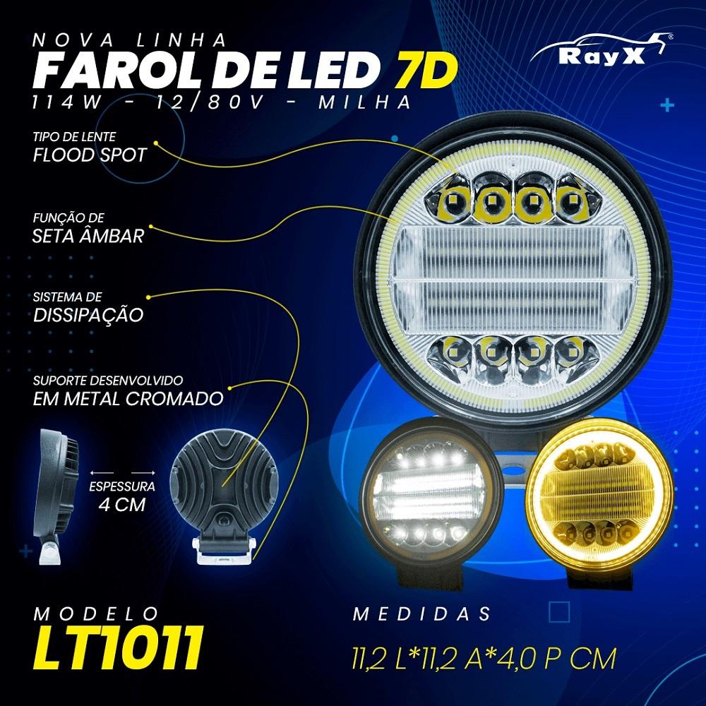 FAROL DE MILHA COM SETA 7D 38 LEDs 114W OFF ROAD