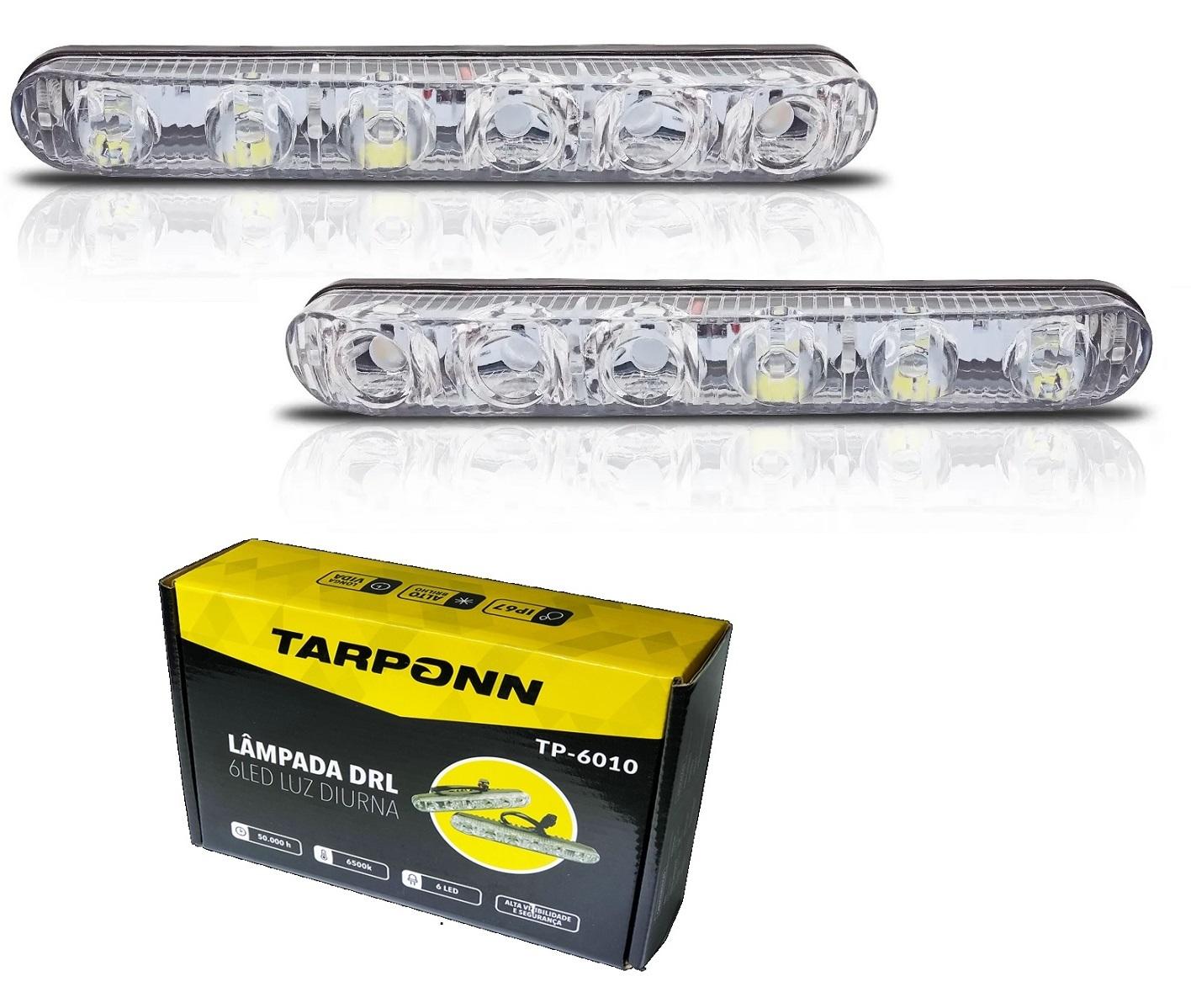 FAROL LED AUXILIAR MILHA DRL 6 LEDs 6500k LUZ DIURNA