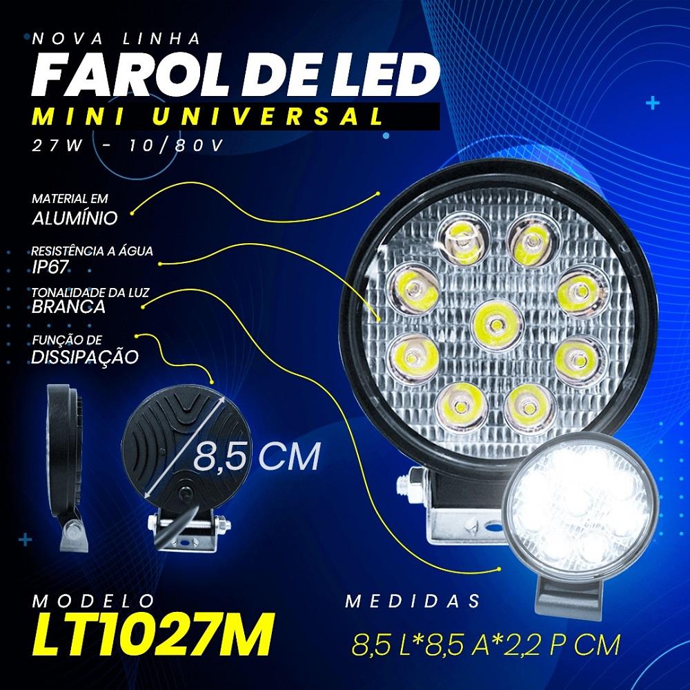 Farol Milha Mini 9 Led 27w off road 4x4