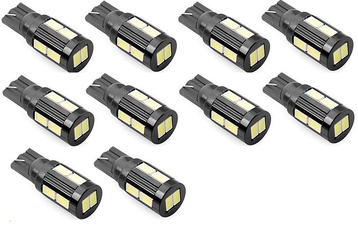 Kit 10x Lâmpada LED T10 5630 10 SMD w5w Branco