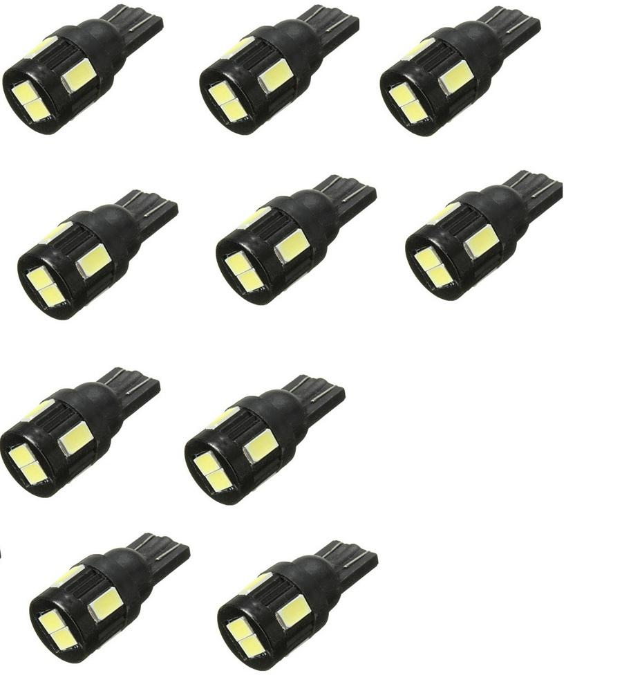 Kit 10x Lâmpada LED T10 5630 6 SMD w5w Branco Pingo
