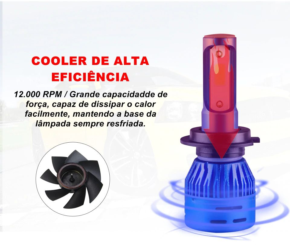 Kit Farol LED Light Cooler 6000k 6400 Lúmens H1 H3 H4 H7 H11 H27 HB3 HB4