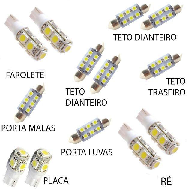 Kit Lâmpada Led Cerato Luz Xenon Pingo Teto Placa Ré