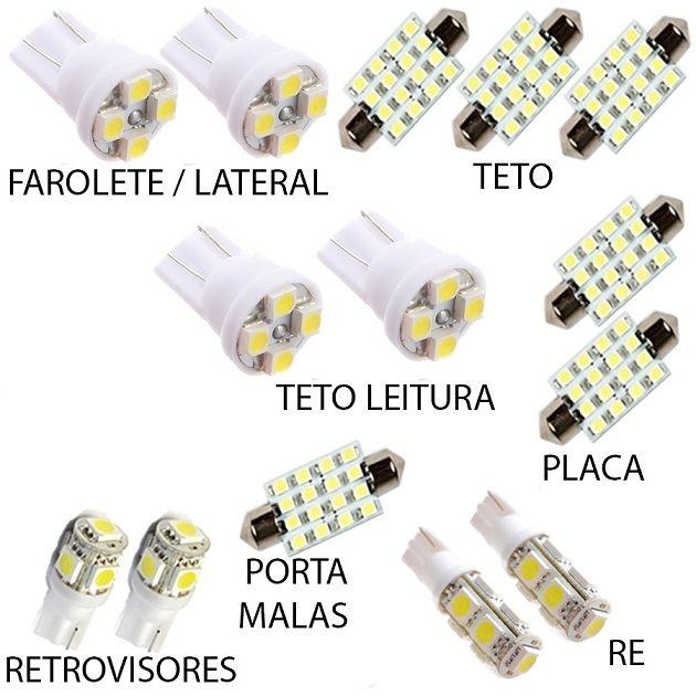 Kit Lâmpada Led Fusion Luz Xenon Pingo Teto Placa Ré