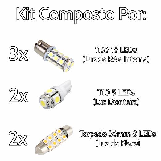 Kit Lâmpadas Led Completo Ford Ka Placa Pingo Teto Luz De Ré