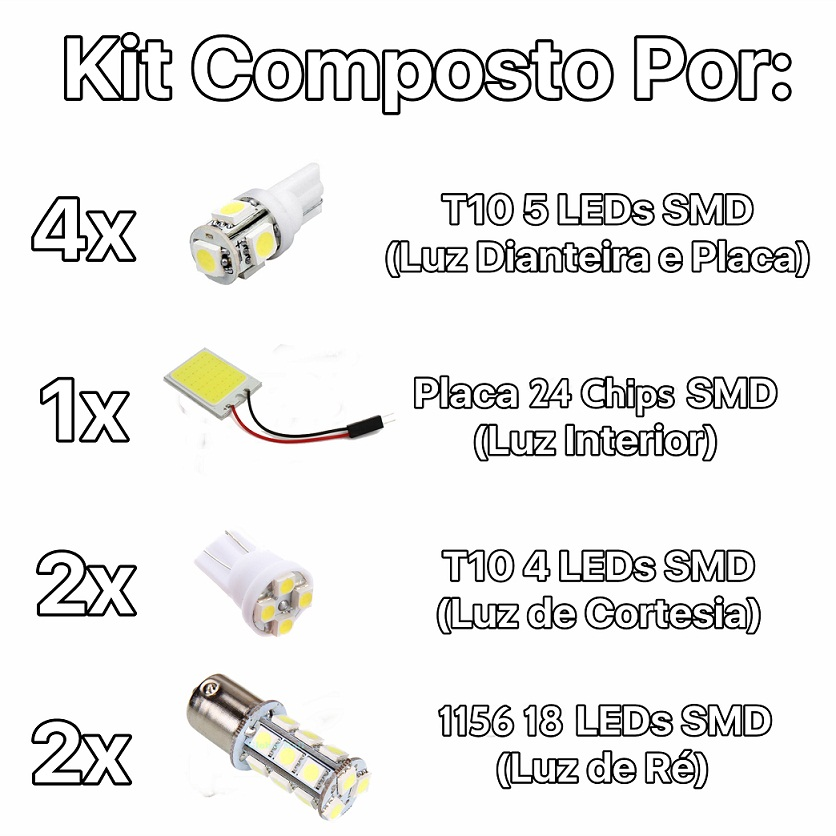Kit Lampadas Led Completo Fox 2008 Até 2010