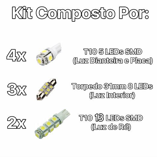 Kit Lâmpadas Led Completo Hb20 Placa Pingo Teto Luz De Ré