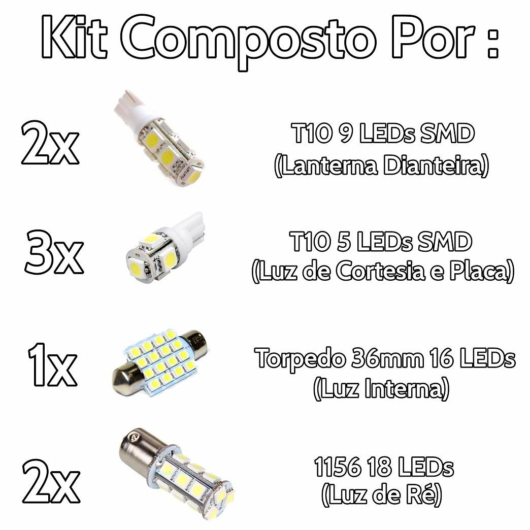 Kit Lâmpadas Led Completo Hilux Placa Pingo Teto Luz De Ré