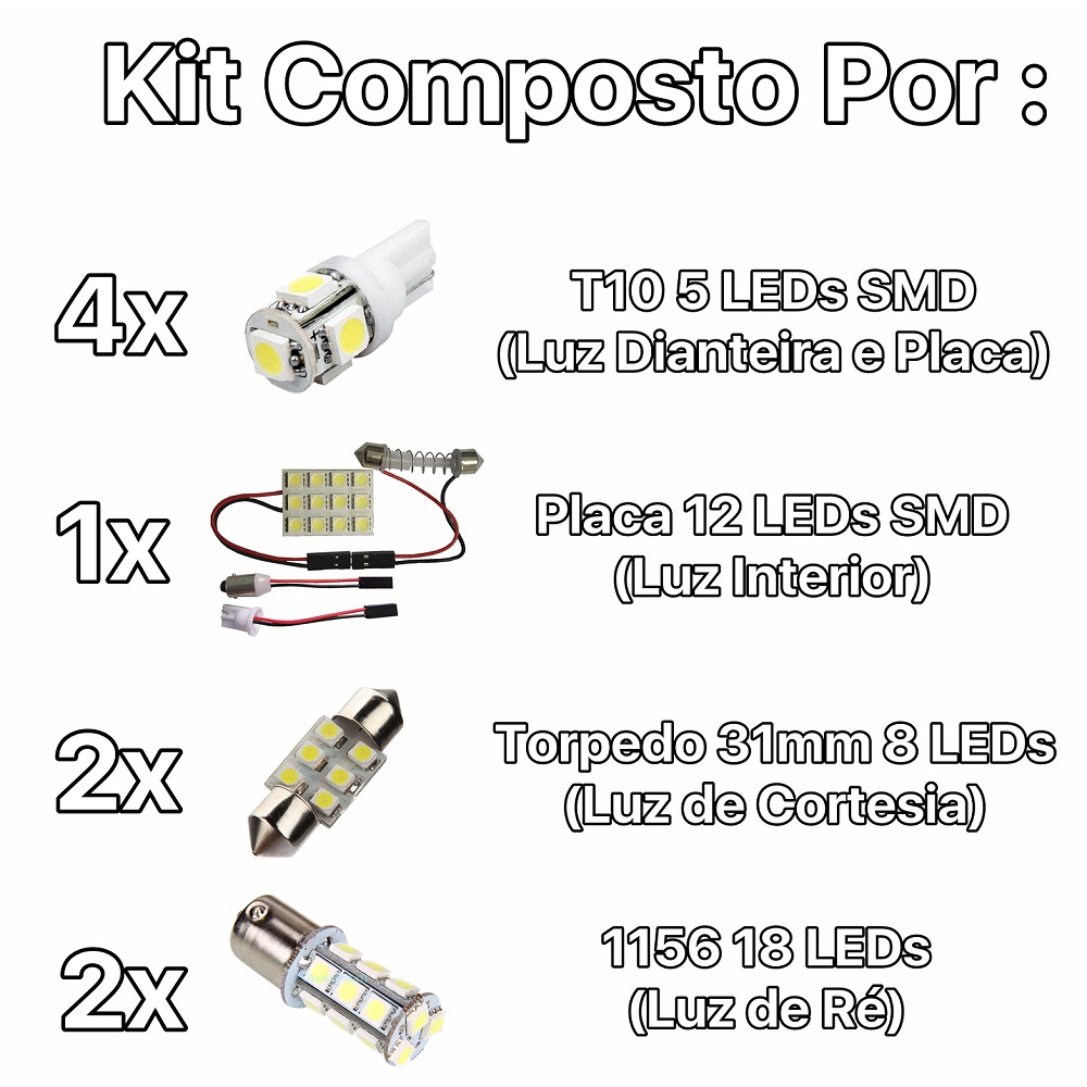 Kit Lâmpadas Led Completo New Civic Placa Pingo Teto Luz Ré