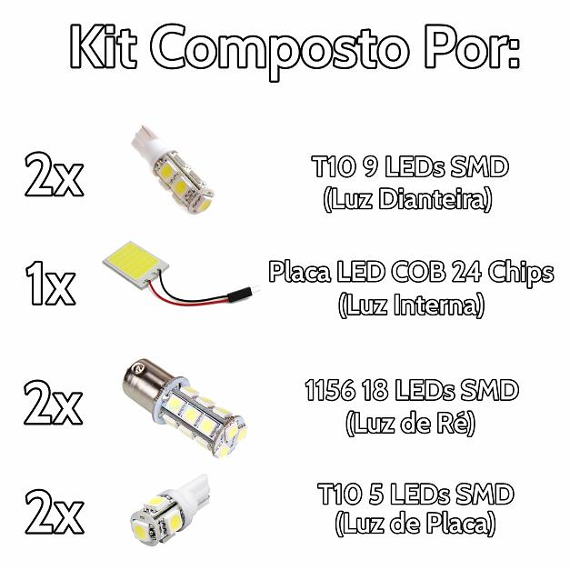 Kit Lâmpadas Led Completo Vectra Placa Pingo Teto Luz de Ré