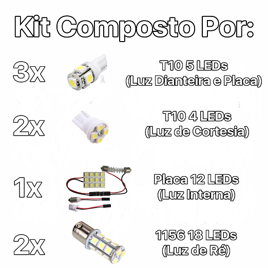 Kit Lâmpadas Led Completo VW Up Placa Pingo Teto Luz De Ré