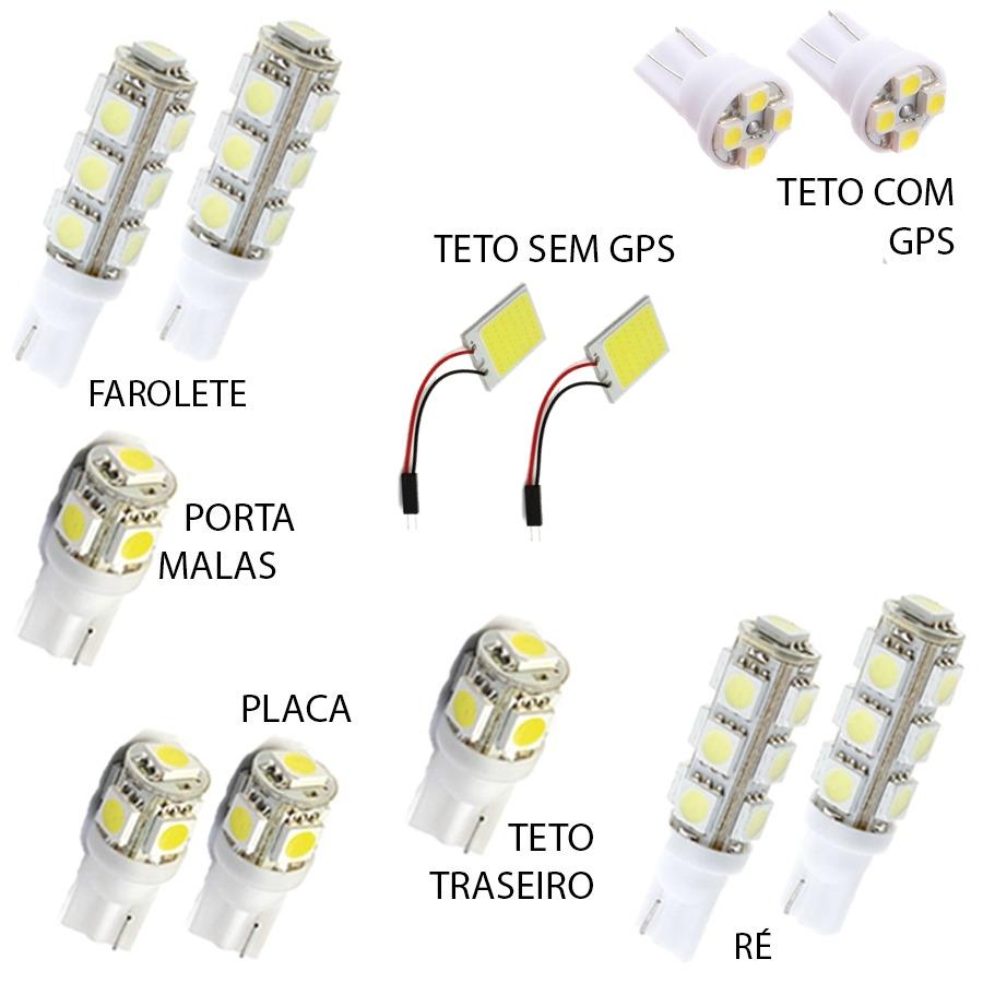 Kit Lâmpadas Led Hrv 2015 2016 Pingo Teto Placa Ré Torpedo
