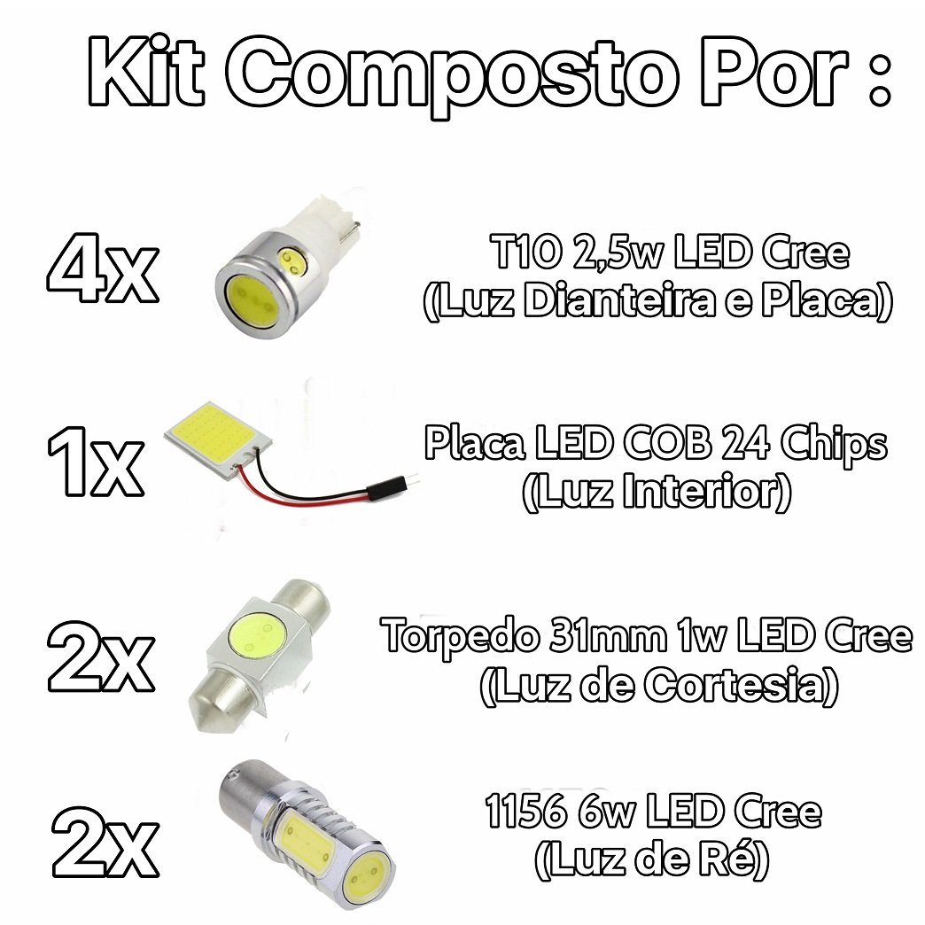 Kit Lâmpadas Led Premium New Civic Placa Pingo Teto Luz Ré