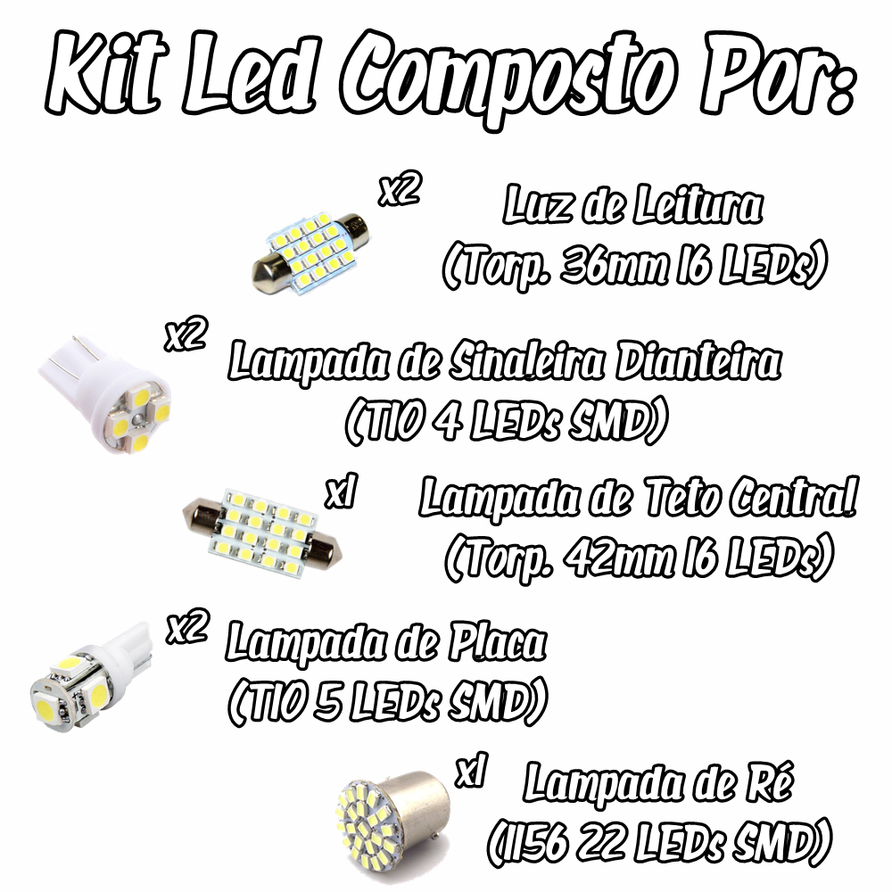 Kit Led Chery Face Pingo Teto Placa Ré