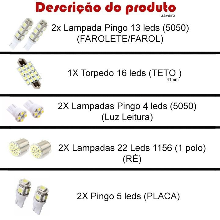 Kit Led VW Saveiro Pingo Teto Placa Ré