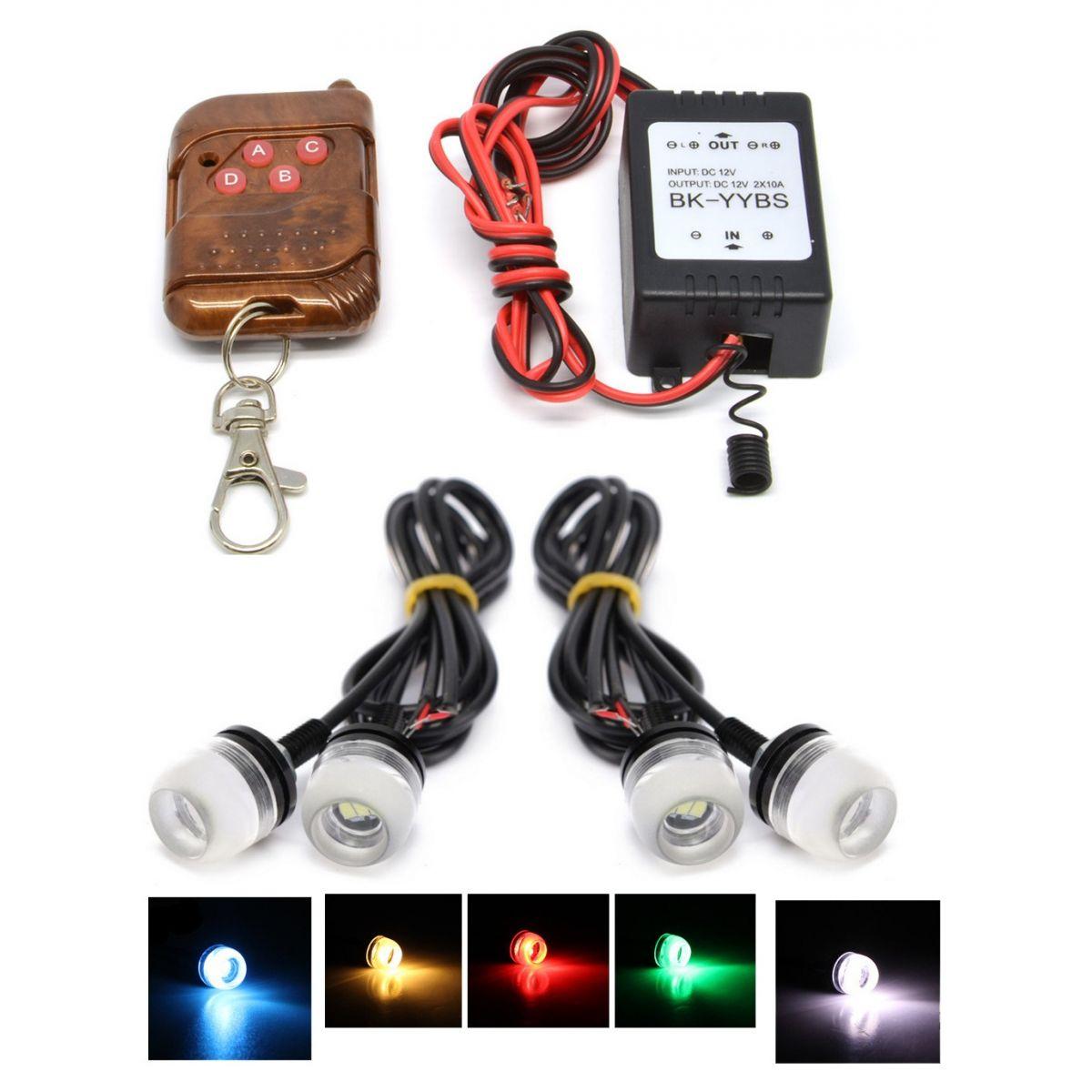 Kit Milha Strobo Controle S/Fio 4 Leds Coloridos DRL Vermelha