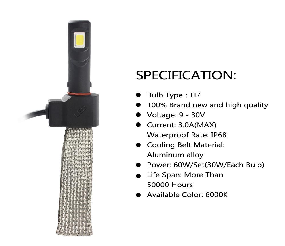 Kit Par Lâmpada Led Farol 7S 3200 Lúmens H27