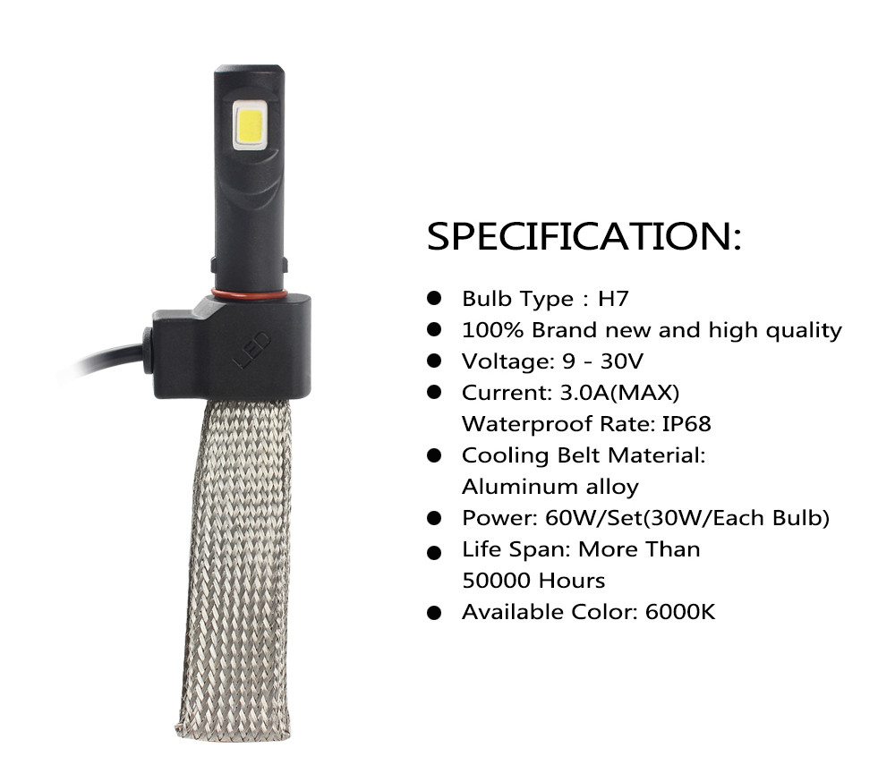 Kit Par Lâmpada Led Farol 7S 3200 Lúmens H8