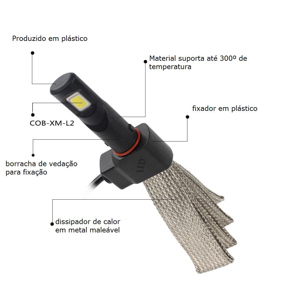 Kit Par Lâmpada Led Farol 7S 3200 Lúmens H9