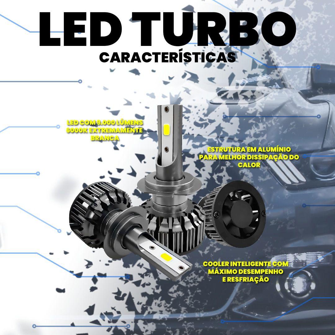 Kit Par Lâmpada Led Turbo Farol Com Cooler H1 H3 H7 H8 H9 H11 H16 H27 HB3 HB4