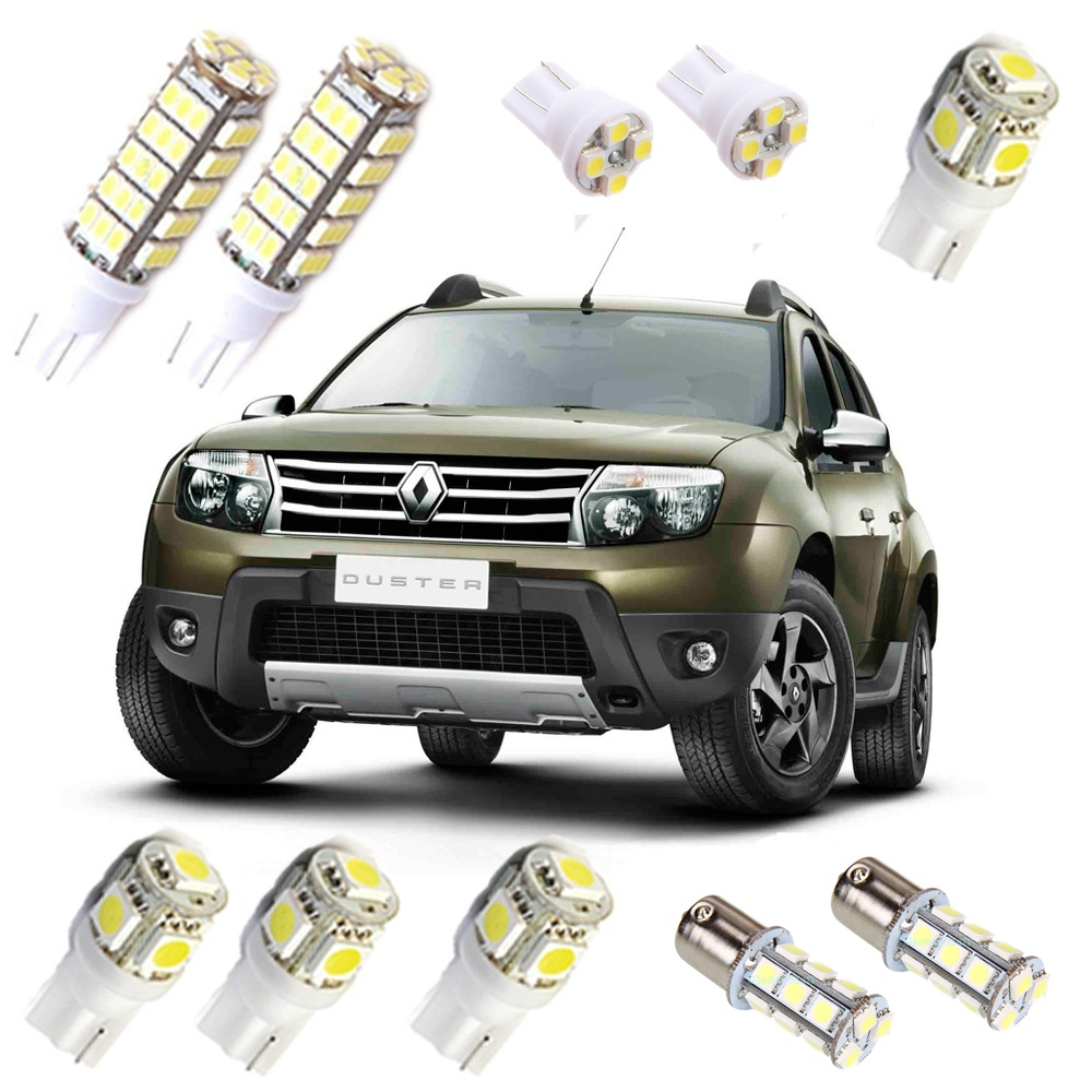 Kit Super Lâmpadas Led Duster Pingo Luz Teto Placa Ré Xenon