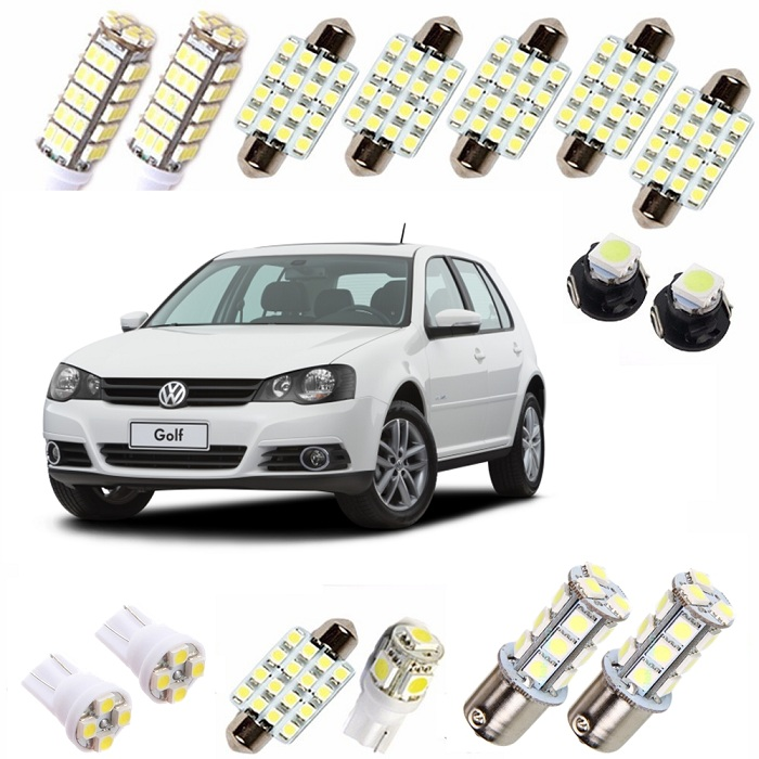 Kit Super Led Golf 1998 até 2010 Pingo Teto Placa Ré