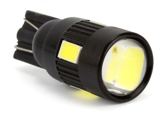 Lâmpada LED T10 5630 6 SMD w5w Branco Com Lente