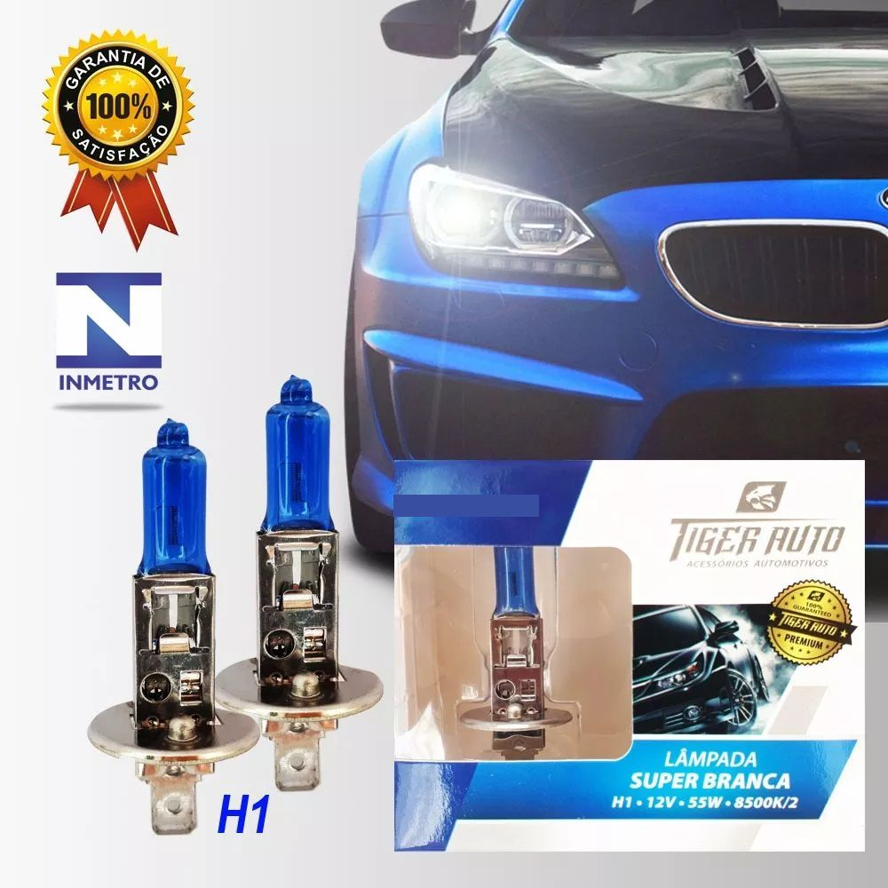 Par Lâmpada Super Branca H1 55w 12v Efeito Xenon Premium Inmetro