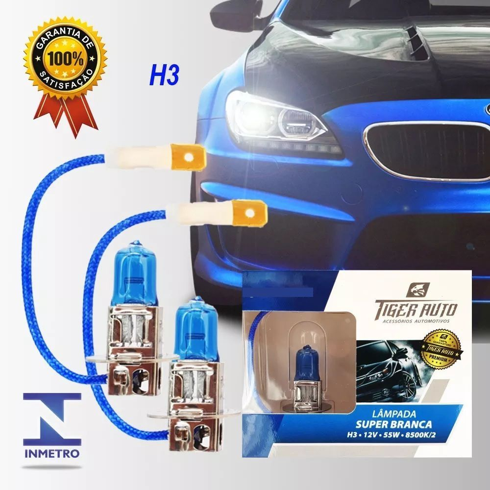 Lâmpada Super Branca H3 55w 12v Efeito Xenon Premium Inmetro
