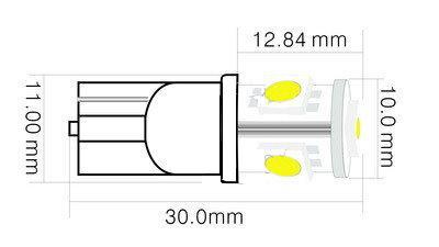 Lâmpada T10 5 Smd w5w 4300k Branco Quente T10 W5w Warm White
