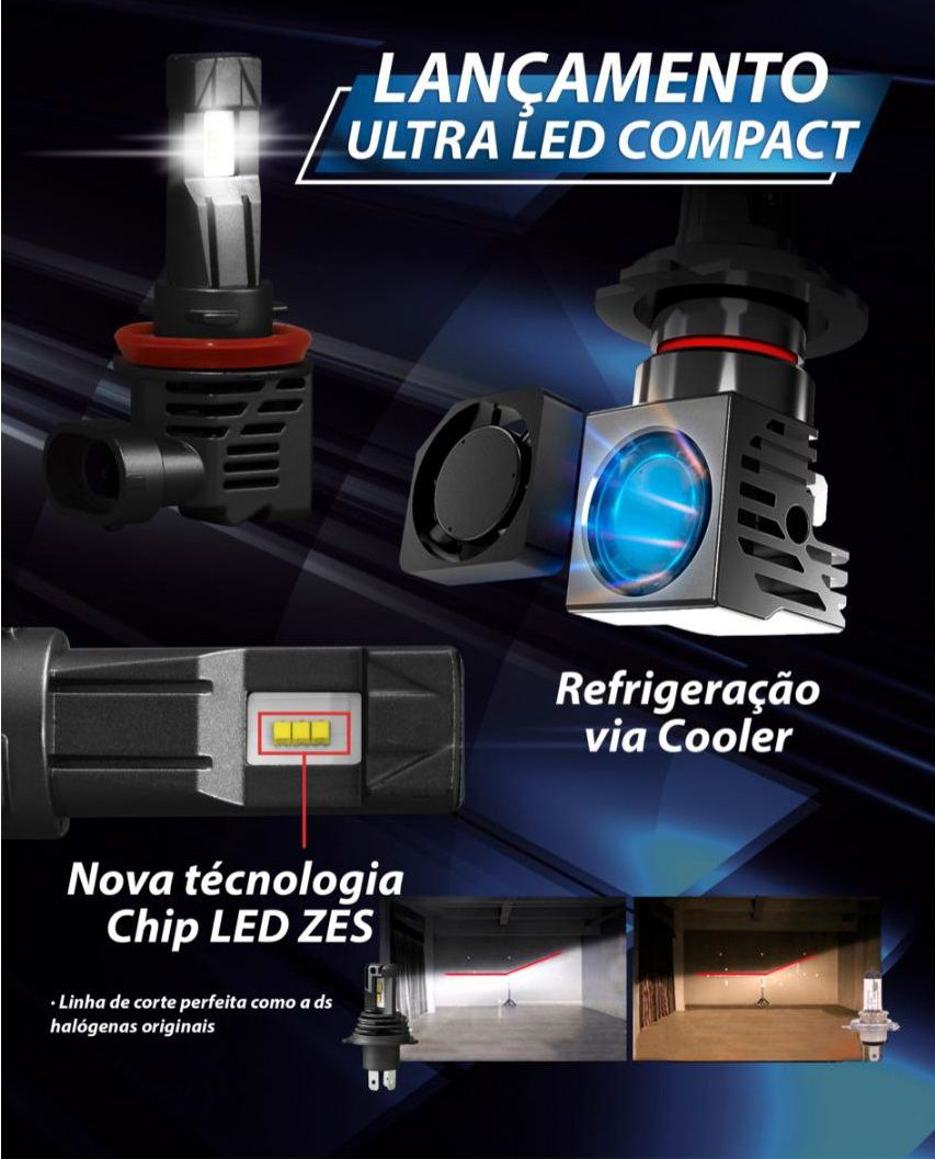 Lampada Ultra LED Compact Chip ZES 6000K H4 H7 H8 H9 H11 HB3 HB4