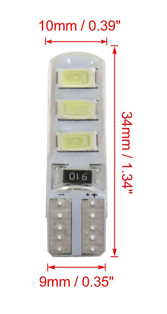 Led Lâmpada T10 6 Canbus 5630 Silicone Pingo Kit C/10 Atacado