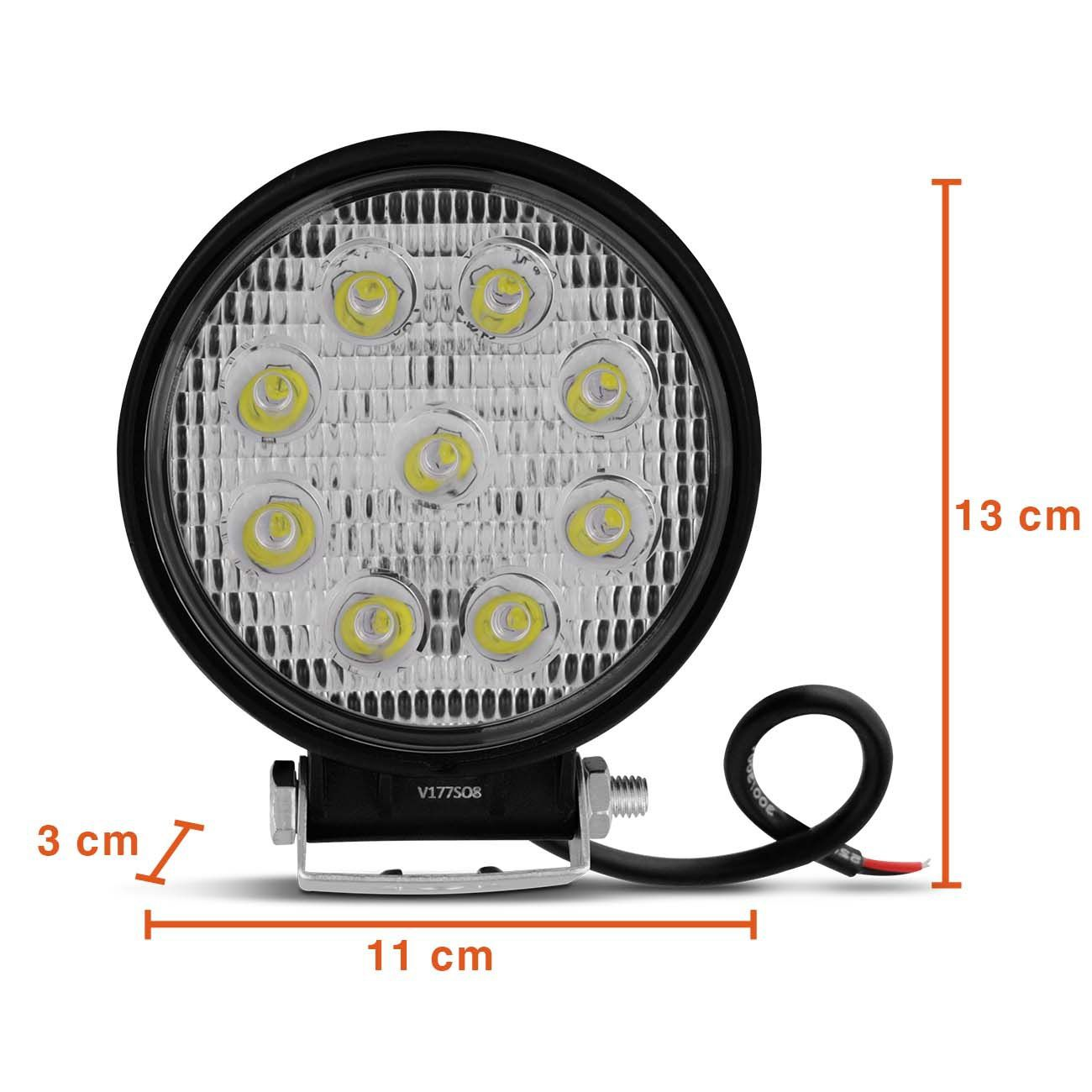 Par Farol Auxiliar Milha Led Cree 27 watts 9 Leds 12 ou 24v Off Road