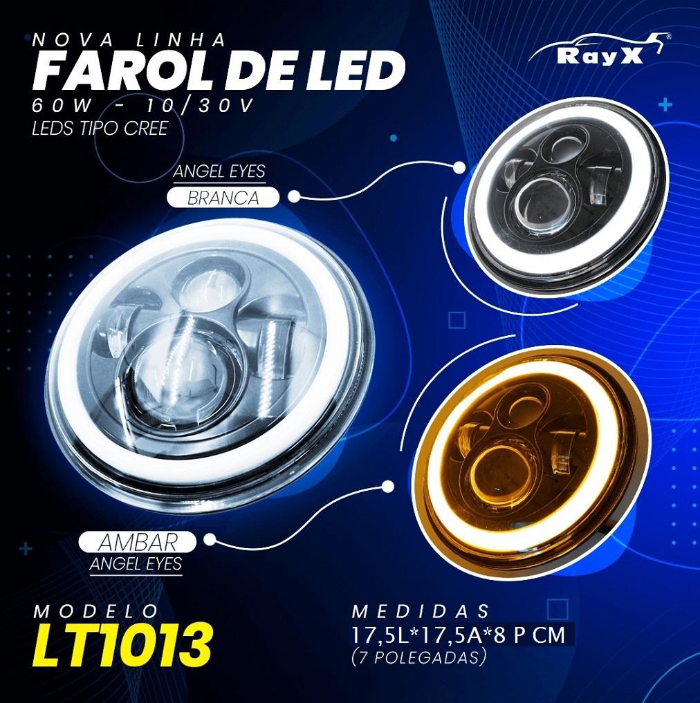 Par Farol Led 7 Polegadas Angel Eyes DRL e Seta 60W