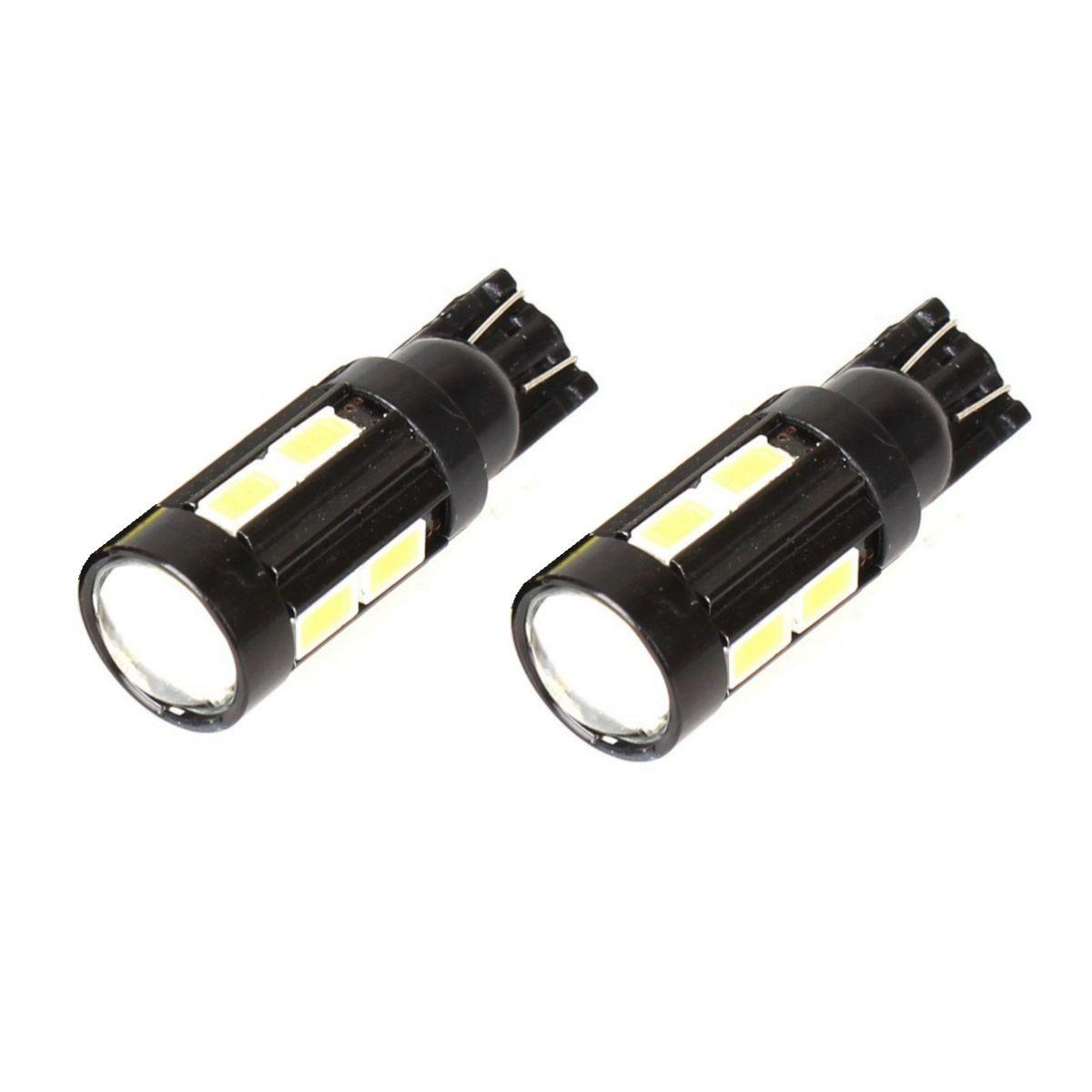 Par Lâmpada LED T10 5630 10 SMD w5w Branco Com Lente