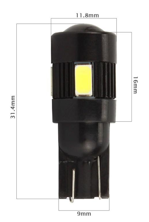 Par Lâmpada LED T10 5630 6 SMD w5w Branco Com Lente
