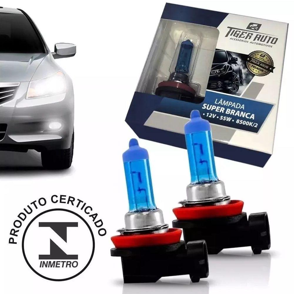 Par Lâmpada Super Branca H11 55w 12v Efeito Xenon Premium Inmetro