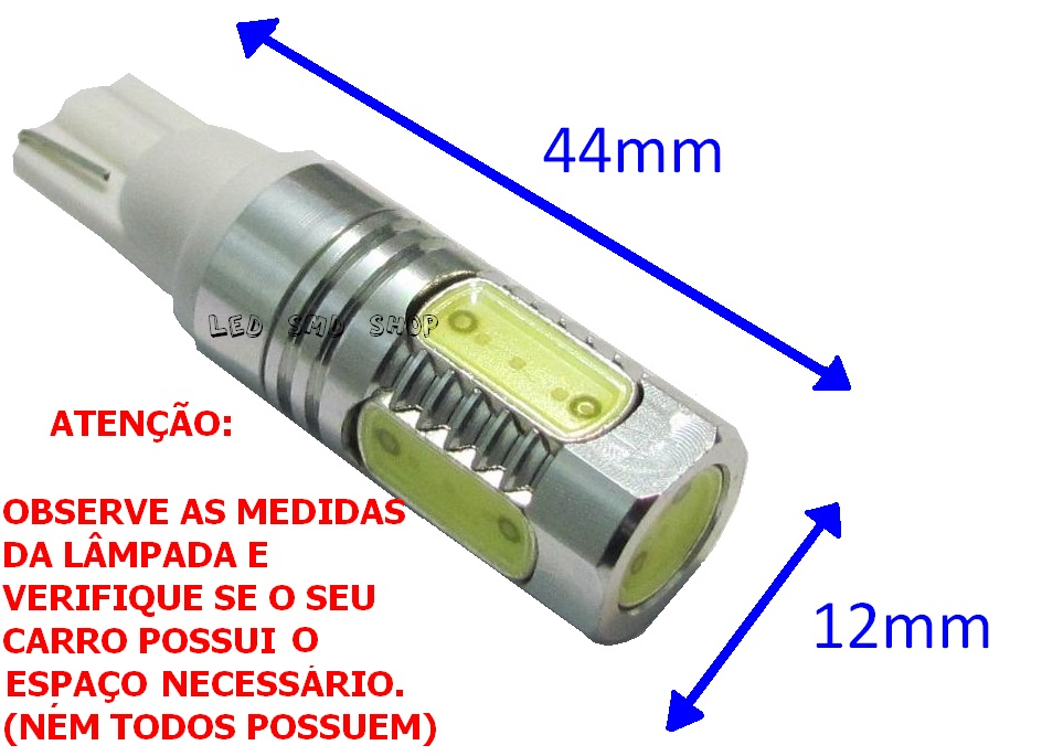 Par Super Pingo 7,5 Watts 5 Super Led T10 W5w Esmagadinha