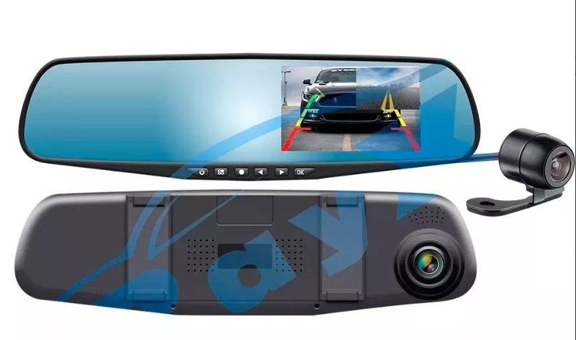 Retrovisor + Cameras Dianteira e Traseira com Gravação DVR