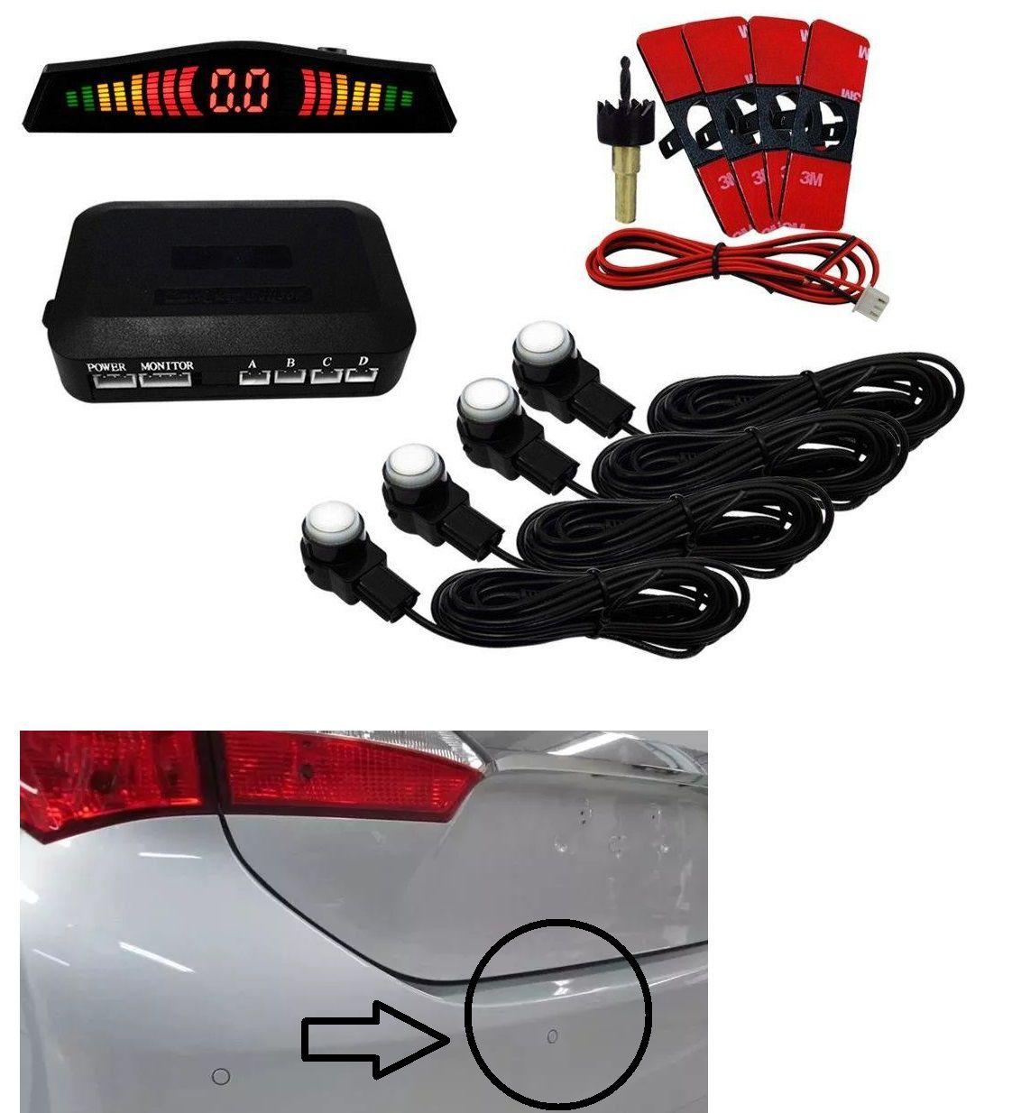 Sensor de Estacionamento Ré Embutido Oem Tipo Original Branco