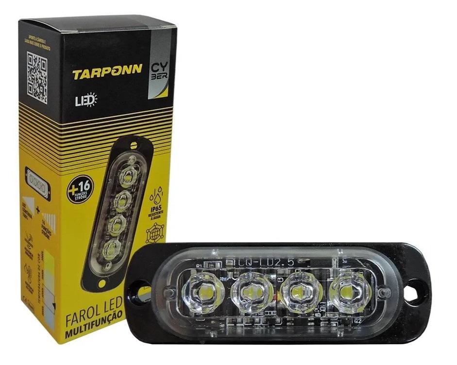 Strobo Led Automotivo Multifunção Cyber Tarponn Tp-6018 Led Branca 12v