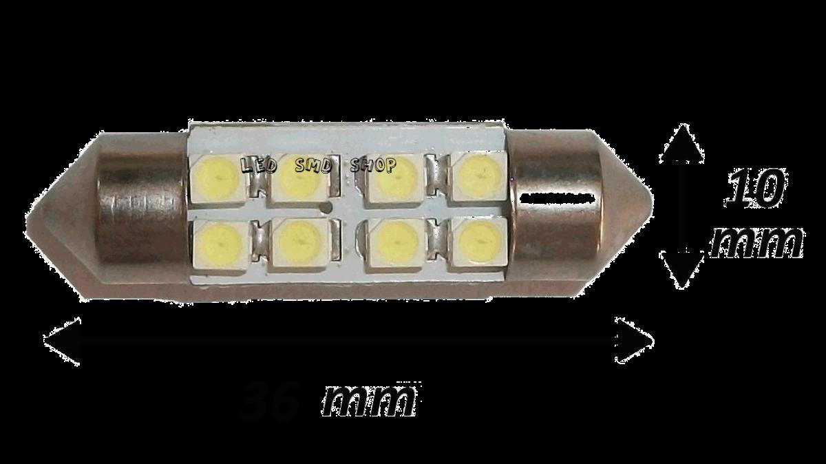 Torpedo 36mm 8 Leds Smd Luz Cortesia Placa Teto Xenon
