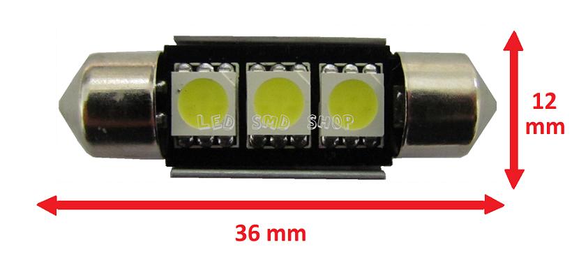 Torpedo 36mm Canceller 3 Led Smd Canbus Lampada Efeito Xenon