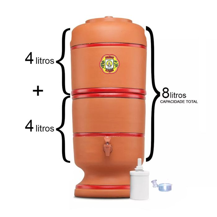 Filtro de Barro São Pedro 4 Litros com 1 Boia e 1 Vela Tripla Ação  - CN Distribuidora