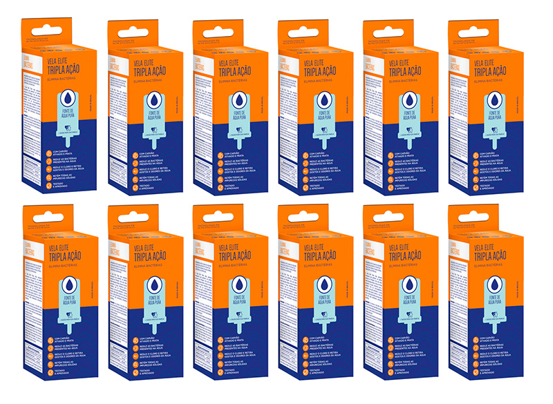 Vela Elite Tripla Ação para Filtro de Barro 12 unidades  - CN Distribuidora