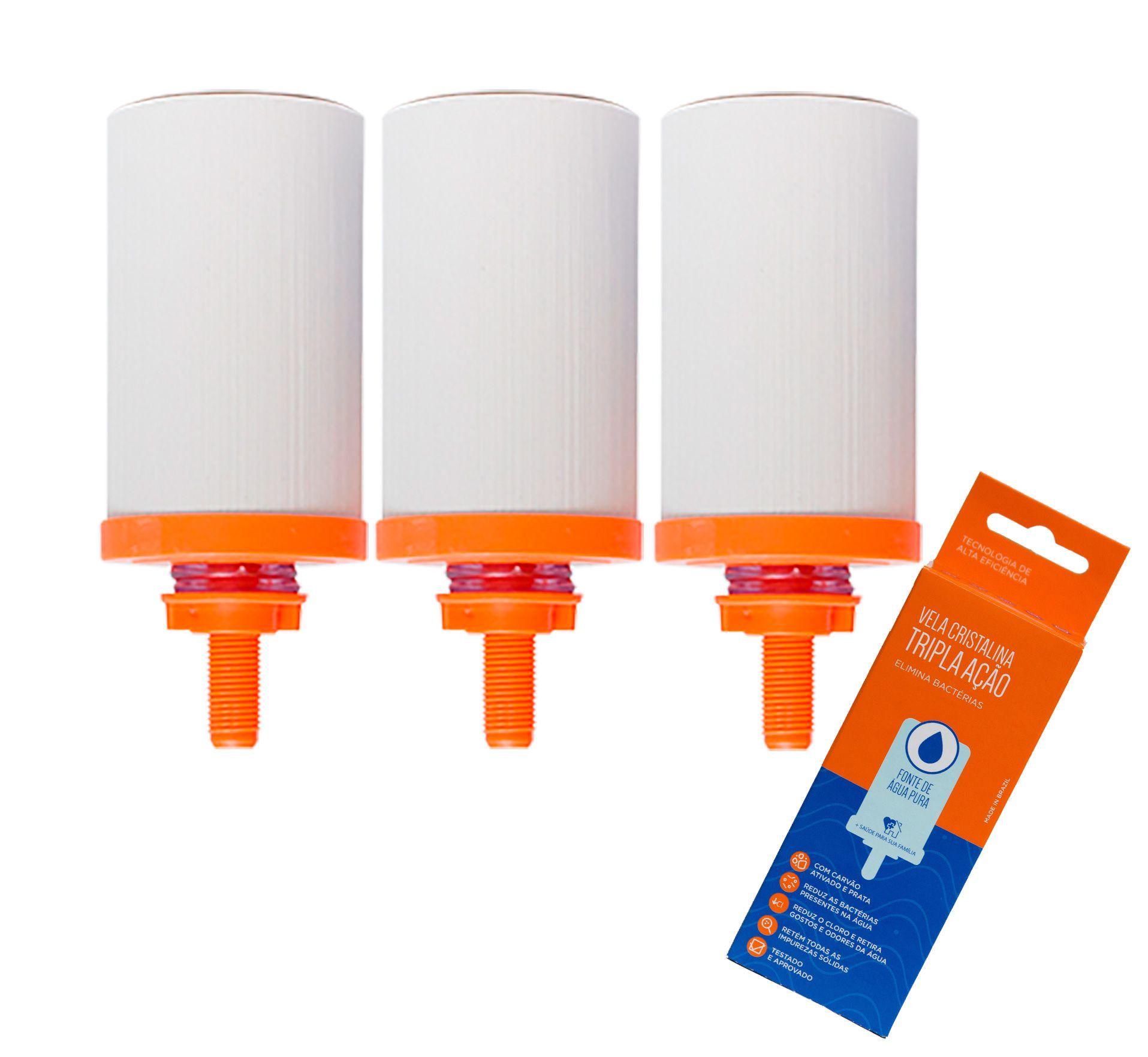 Vela para Filtro de Barro Cristalina Tripla Ação 03 unidades  - CN Distribuidora