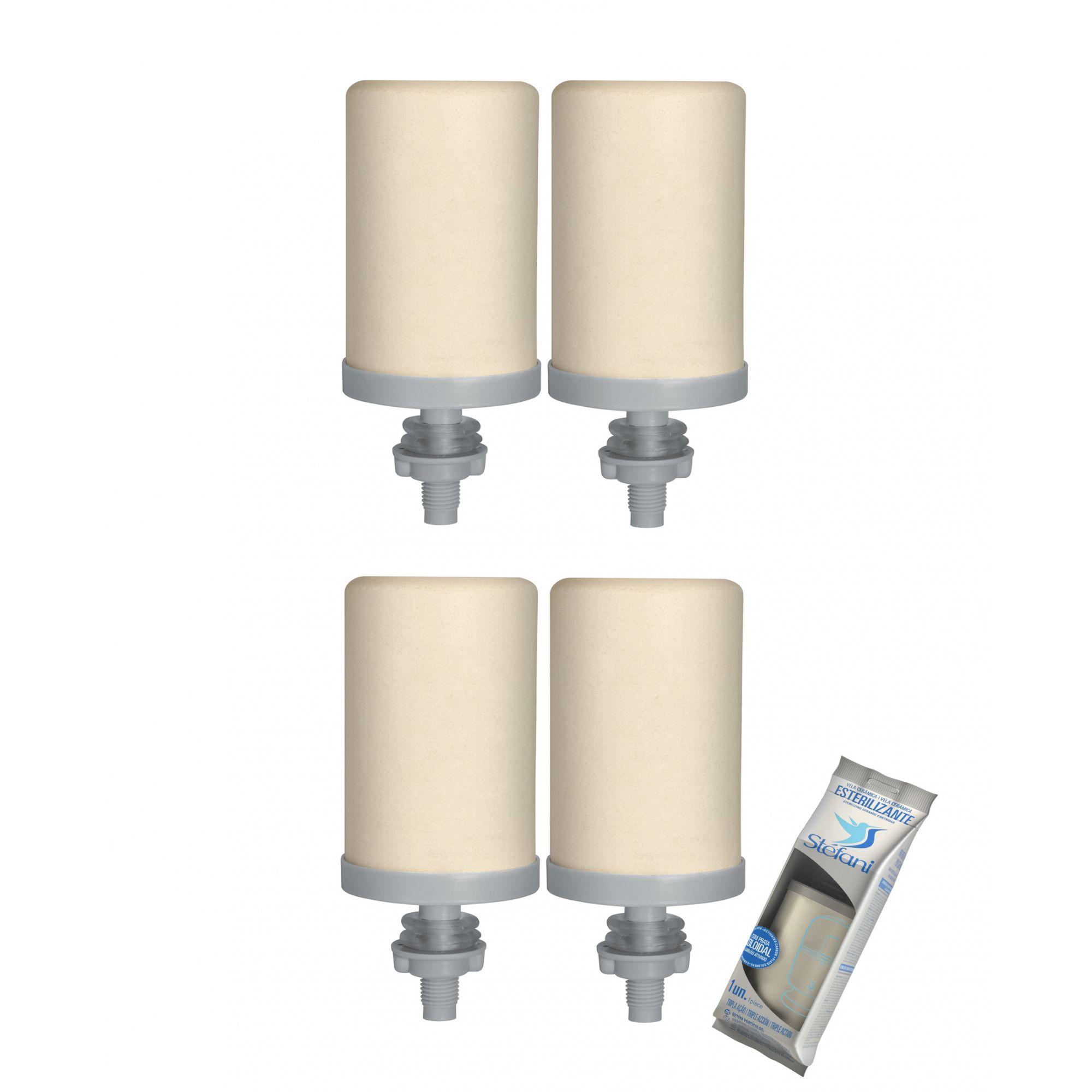 Vela para Filtro de Barro Stefani Tripla Ação 04 unidades  - CN Distribuidora