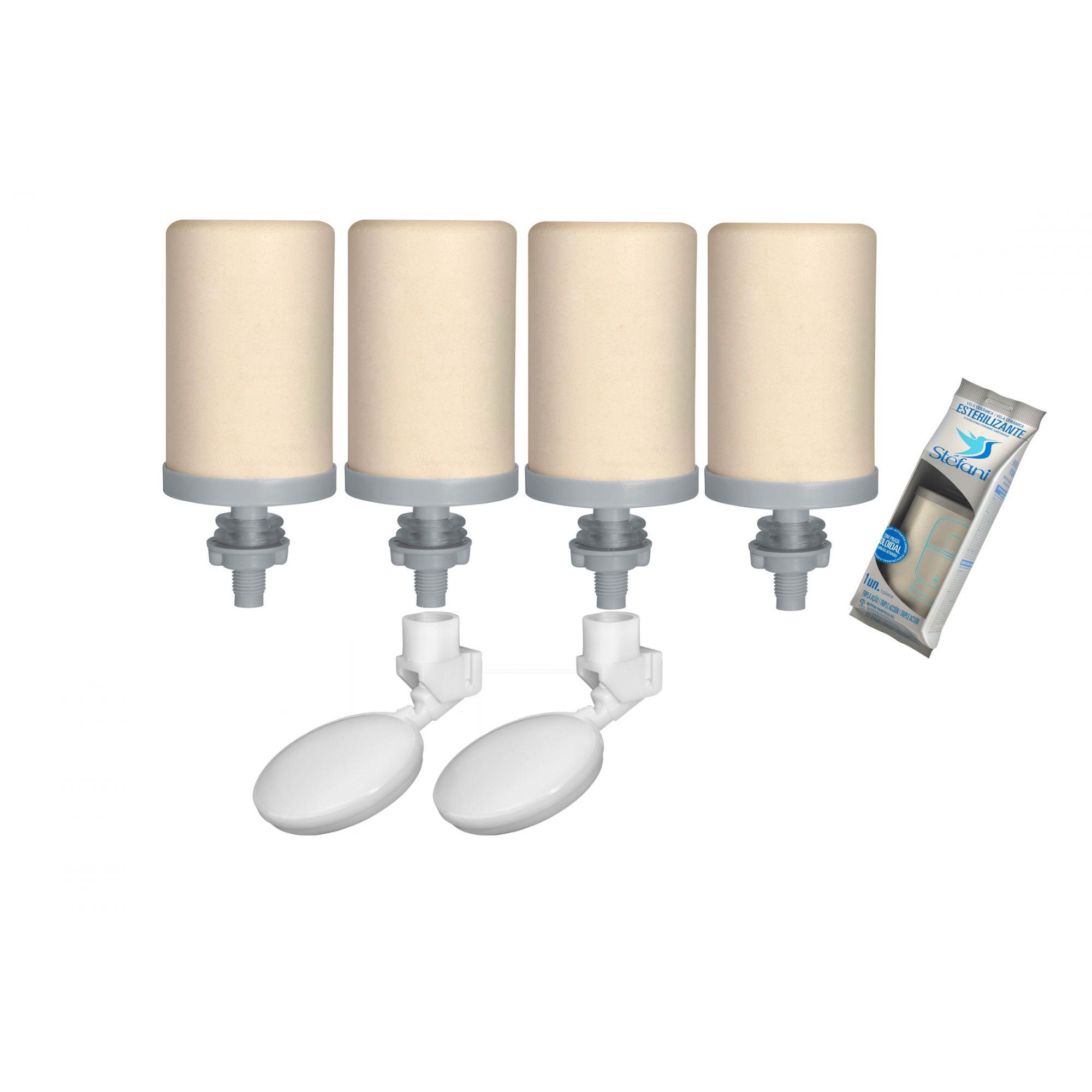 Vela para Filtro de Barro Stefani Tripla Ação 04 unidades e 02 Boias  - CN Distribuidora