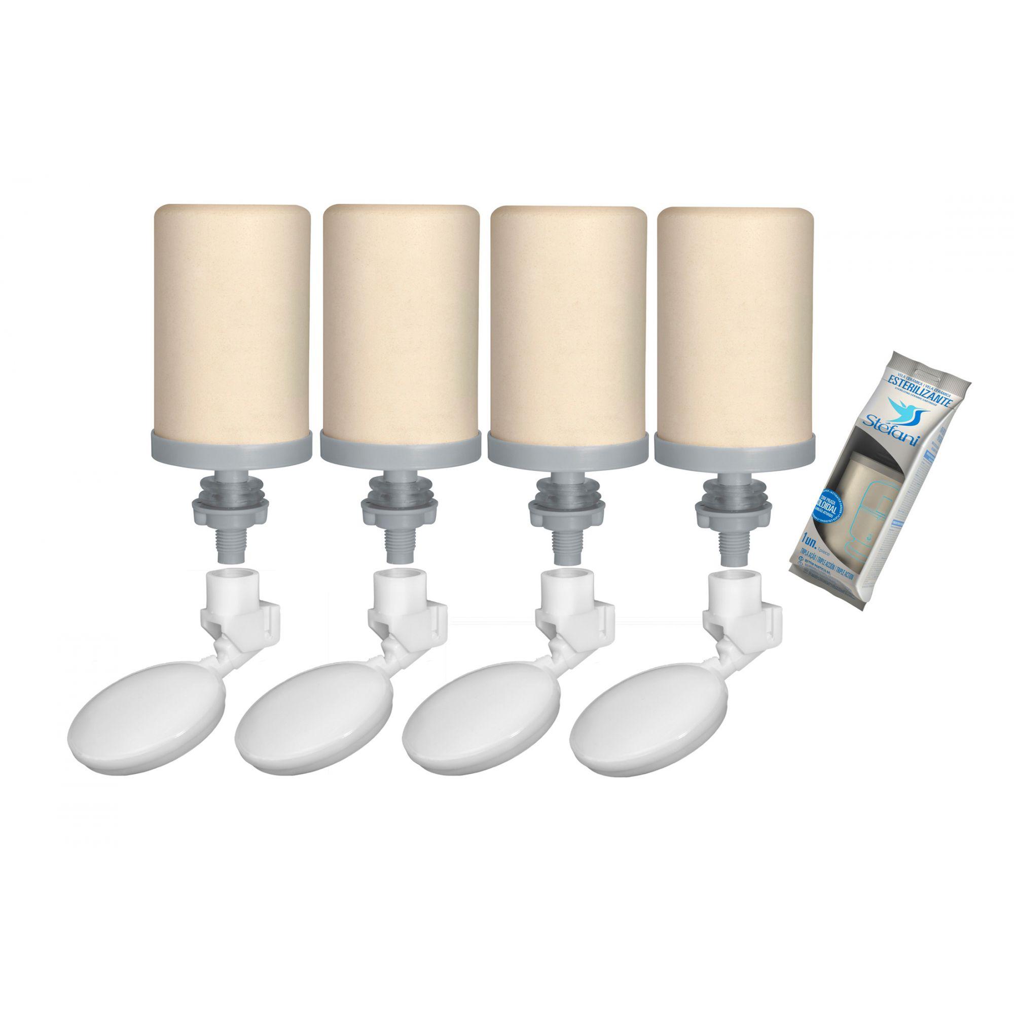 Vela para Filtro de Barro Stefani Tripla Ação 04 unidades e 04 Boias  - CN Distribuidora