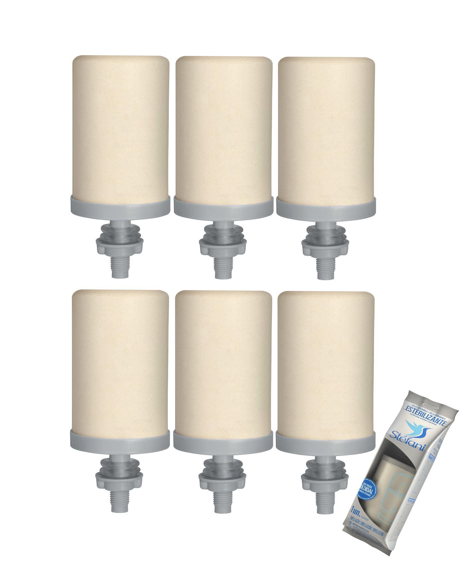Vela para Filtro de Barro Stefani Tripla Ação 06 unidades  - CN Distribuidora